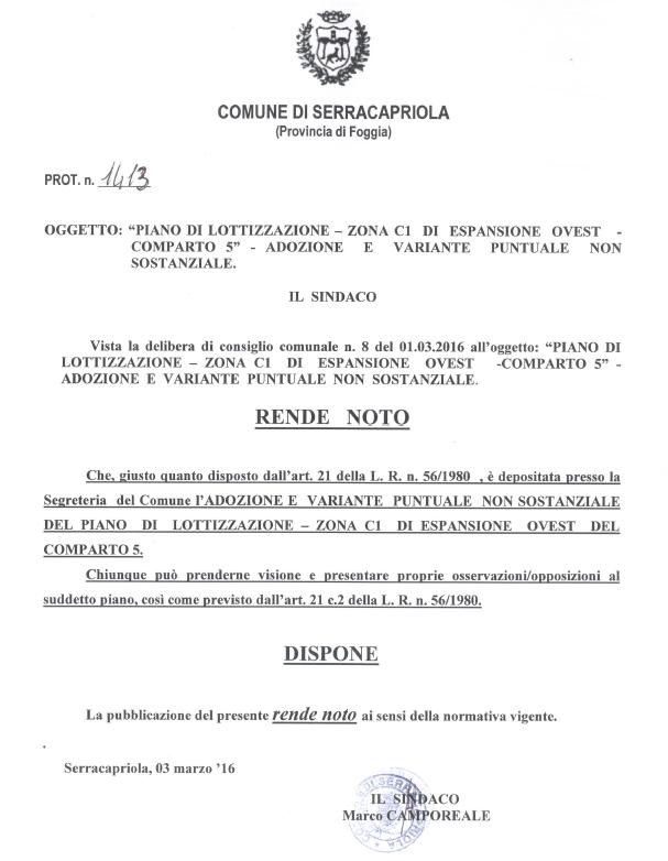 Serracapriola - Adozione variante