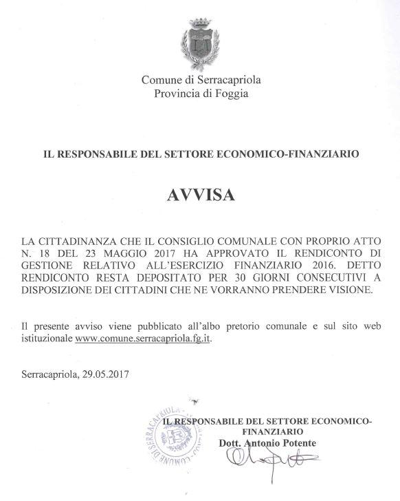 Serracapriola - Avviso consuntivo di gestione Anno 2016